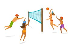 Group of people playing beach volleyball stock illustration