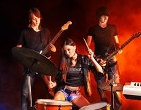 Group people playing  guitar. Royalty Free Stock Images