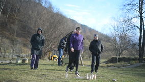 Group of people playing molkky stock footage