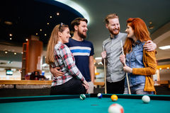 Group of people playing snooker Royalty Free Stock Photography