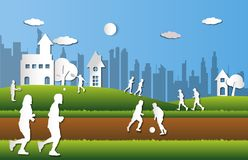 People playing sport with fresh green city background in paper cut style. Group of people playing sport with fresh green city background in paper cut style royalty free illustration