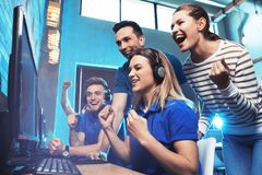 Group of people playing video games royalty free stock photos