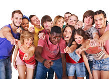 Group people point. Stock Photos