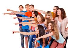 Group people pointing. Stock Images