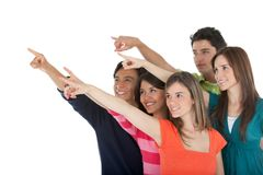 Group of people pointing away Stock Images