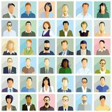 Group people portrait illustrations. Colorful illustrations of 36 individual illustrated portraits shown in a square grid form Stock Photos