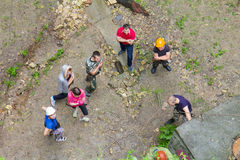Group of people practice at a climbing training Stock Photography