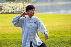 Group of people practice Tai Chi Chuan in a park. BANGKOK, THAILAND - FEBRUARY 13, 2016: Unidentified group of people practice Tai Chi Chuan in a park Royalty Free Stock Photos