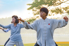 Group of people practice Tai Chi Chuan in a park. BANGKOK, THAILAND - FEBRUARY 13, 2016: Unidentified group of people practice Tai Chi Chuan in a park Royalty Free Stock Image