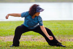 Group of people practice Tai Chi Chuan in a park. BANGKOK, THAILAND - FEBRUARY 20, 2016: Unidentified gGroup of people practice Tai Chi Chuan in a park Stock Photography
