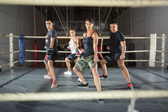 Group of people practicing combat Stock Image