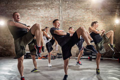 Group of people practicing kick royalty free stock photo