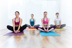Group of people practicing yoga at home. Baddha Konasana pose. Portrait of group of people practicing yoga at home. Baddha Konasana pose Stock Photo