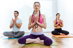 Group of people practicing yoga at home in the lotus position. Royalty Free Stock Image