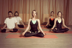 Group of people practicing yoga in the lotus Stock Photos