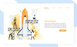 Group of people preparing spaceship, rocket, spacecraft or shuttle for space journey. Startup company or business. Project launch. Modern flat vector royalty free illustration