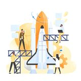 Group of people preparing spaceship, spacecraft, rocket or shuttle for space travel or mission. Clerks working together. On startup company or business project vector illustration