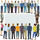 Group of people illustrated around copy space Stock Image