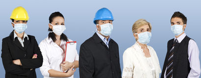 Group of people protect from flu Royalty Free Stock Photos