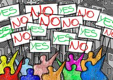 A group of people protesting writing `yes and no` on their billboards - concept illustration. Royalty Free Stock Images