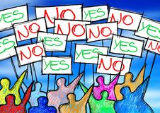 A group of people protesting writing `yes and no` on their billboards - concept illustration.  royalty free stock photos
