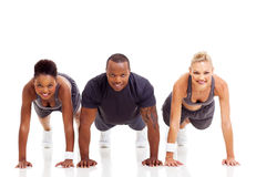 Group people pushups Stock Photos