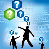 Group of people with question mark. On blue background Royalty Free Stock Image