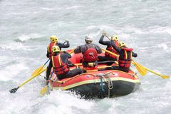 Group of people rafting on white water, active vacations team concept Stock Photo