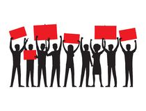 Group of People with Red Placards Silhouettes Royalty Free Stock Photos