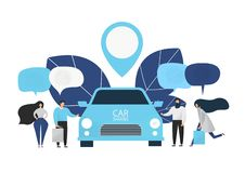 Group of people rent a car in carsharing service. vector illustration
