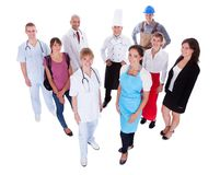 Group of people representing diverse professions Royalty Free Stock Image