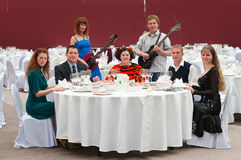 Group of people are in restaurant royalty free stock photos