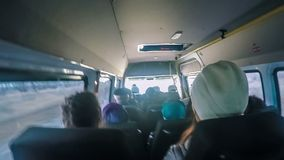 Group of people ride the bus car rear view video stock video footage