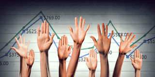 Group of people rise hands . Mixed media Royalty Free Stock Images