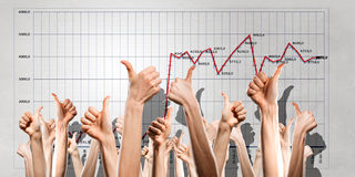 Group of people rise hands . Mixed media Royalty Free Stock Photo