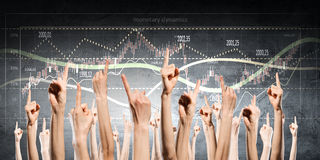 Group of people rise hands . Mixed media Royalty Free Stock Photography