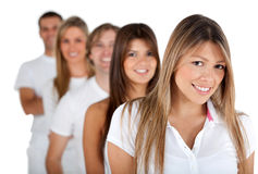 Group of people in a row Royalty Free Stock Photo