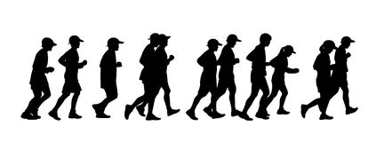 Group of people running. Silhouette of a group of 11 persons men and women runnig together Stock Illustration