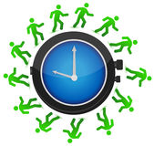 Group of people running around the clock Stock Image