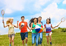 Group people  running. Royalty Free Stock Images