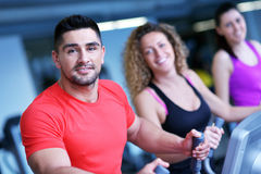 Group of people running on treadmills Royalty Free Stock Image