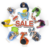 Group of People and Sale Concepts.  Stock Image