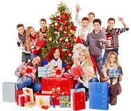 Group people and  Santa. Royalty Free Stock Photo