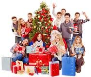 Group people and  Santa. Royalty Free Stock Photo