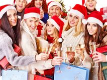 Group people and  Santa. Royalty Free Stock Images