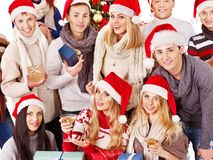 Group people and  Santa. Stock Images