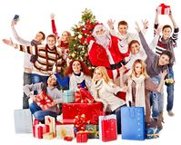 Group people and  Santa. Royalty Free Stock Image