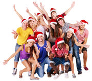 Group people in santa hat. Royalty Free Stock Image