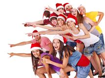 Group people in Santa hat. Royalty Free Stock Photography
