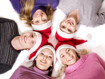 Group people in santa hat. Stock Photos